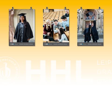 EIne Plakatreihe zeigt die Studierenden der HHL Leipzig.